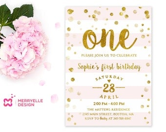 Pink and Gold 1st Birthday Invitations Girls Birthday Party