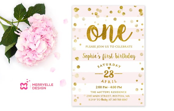 First Birthday Invitation Girl St Birthday Girls Party - First birthday invitations girl pink and gold