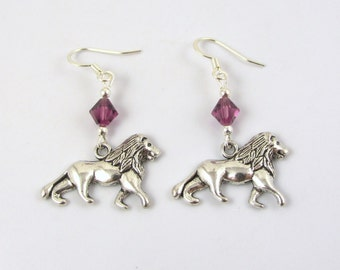 Lion Earrings- choose a birthstone, Lion Jewelry, Lion Birthstone, Lion Gift, Lion Charms, Lion Birthday, Cat Earring, Charm Earrings, Lion