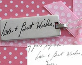 Signature Necklace. Your actual loved ones signature or handwriting. Sterling Silver
