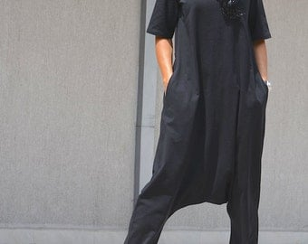 Woman black jumpsuit, black jumpsuit, black harem jumpsuit, linen jumpsuit, ladies jumpsuit, jumpsuits for lady, loose jumpsuit, drop crotch