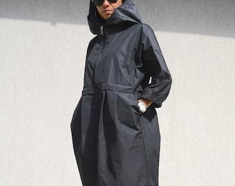 Black jacket for oversized women, waterproof party coat, hooded outerwear, black casual jacket, extravagant plus size winter coat