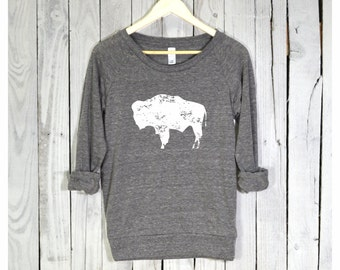 Bison Shirt. Bison Pullover. Raglan Sleeves. Alternative Apparel.