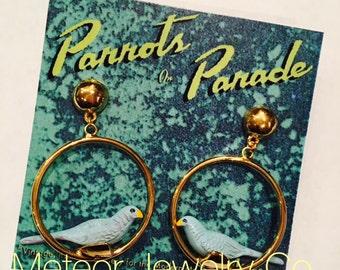 Retro Novelty Parrot Bird Hoop Earrings, Parrots on Parade, Anniversary Gift