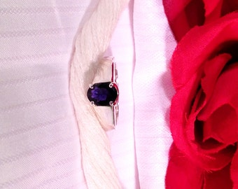 Sparkling Solitaire Iolite Ring ~ 925 Sterling Silver ~ Size 7