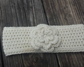 Crochet Toddler Flower Ear Warmer/Headband - Neutral Colors