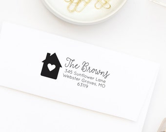 Return Address Stamp, New Home Stamp, Housewarming Gift, Closing Gift, Calligraphy Stamp, Wedding Gift, Gift for Newlyweds, Stamp NO. 11