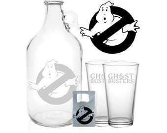 "Ghostbusters Growler 64oz- Beer Growler with Ghostbusters Inspired Engraving- ""Ghostbusters Gift"""