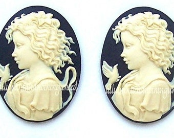 2 Ivory Color Young Girl Goddess with Dove and Lily on Black Background 40mm x 30mm Resin Cameos for Making Costume Jewelry