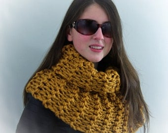 Hand-knitted Chunky Twisted Infinity Cowl Scarf in Mustard Yellow