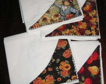 Set of Four Floursack Dishtowels, Embellished with Autumn Fabric and Blanket Stitches, FREE SHIPPING