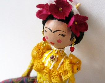 Frida Kahlo artdoll hand-painted paper mache