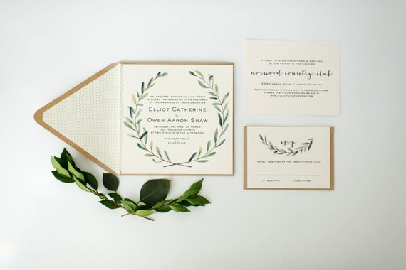 elliot wedding invitation sample set  -  winery, olive branch, watercolor  // lola louie paperie