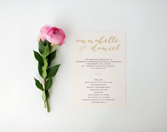 annabelle gold foil wedding programs (sets of 10)  // lola louie paperie