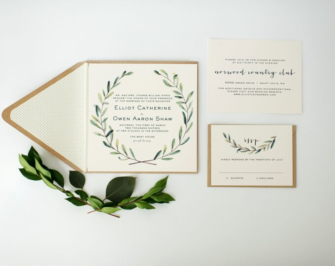 elliot greenery wedding invitation sample set // winery olive branch watercolor rustic eucalyptus custom modern simple calligraphy invite