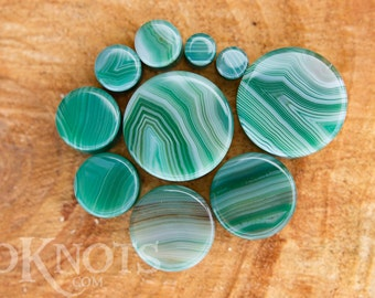 Green Stripe Agate Stone Plugs - Double Flared - 1 Pair - 6mm - 8mm - 10mm - 11mm - 12.7mm - 14mm - 16mm - 19mm - 22mm - 25mm - Organic