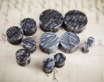 Spiderweb Jasper Stone Plugs - Double Flared - 1 Pair - 6mm - 8mm - 10mm - 11mm - 12.7mm - 14mm - 16mm - 19mm - 22mm - 25mm - Organic