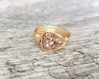Rose Gold Druzy Ring, Delicate Druzy Ring, Rose Gold Druzy Wire Wrapped Jewelry Handmade Ring, Southern Wire
