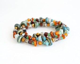 Gemstone beaded wrap bracelet, bohemian style green bracelet, freshwater pearl boho jewelry, summer jewelry, boho bracelet, gift for her