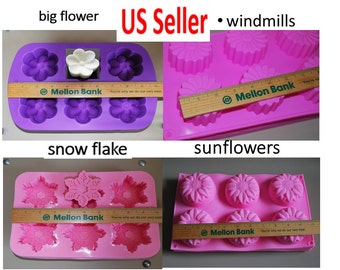 Silicone Soap Molds - Silicone flower Molds - sunflower molds - snow flakes - windmill mold - muffin mold - cake mold