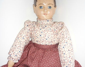 Wax Artist Doll wears Original Calico Outfit - Hand Painted - Made In 1987