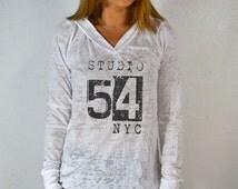 Studio 54 NYC. Women's Workout Hoodie. Gym Hoodie. Burnout Hoodie Long. Fitness Hoodie. Exercise Shirt. Running Shirt. Yoga Shirts.