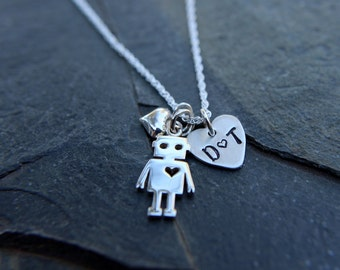 Robot necklace, Geek necklace, Adorkable, Robot love