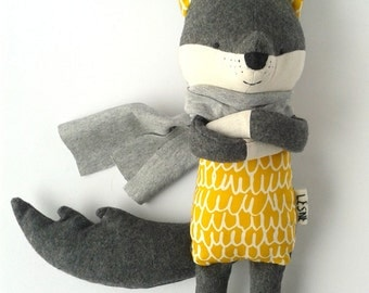 ROLLO the wolf. made to order. handmade eco toy. modern stuffed wolf. minimalistic toy