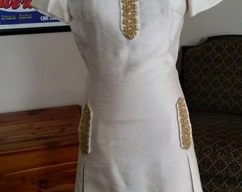 Wonderful 60's Light Gold Raw Silk Shift Dress withGold Applique and Rhinestones