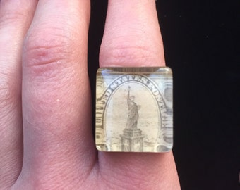 Lady Liberty Postage Stamp Ring