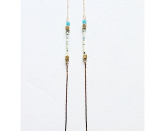 Blue Agate Raw Brass Chain Necklace