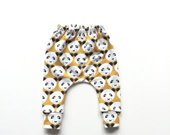 Yellow baby infant harem pants with pandas. Comfy infant pants with cuffs. Yellow  sweat fabric.  Slim fit harem pants. Sweat pants