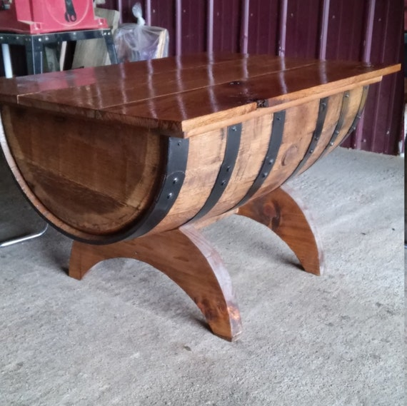 Rustic Oak Whiskey Barrel Coffee Table With Storage Crescent