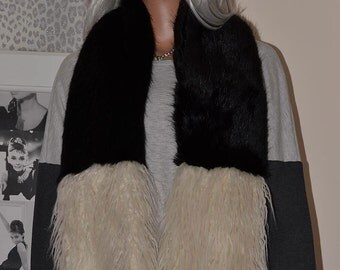 Two Colour Black and Cream Striped Faux Fur Scarf with Mongolian Lambswool Tips