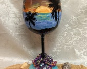 Free US shipping!! Waterford crystal beach sunset polymer clay and seashell wine glass~Hawaii wine glass~beach sunset wine glass~Waterford