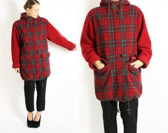 Red plaid coat | Etsy