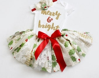 Christmas Holly and Berries Fabric and Tulle Tutu, Top, & Headband // Merry and Bright // Red, Ivory, Gold, Green // Baby, Toddler, Girl