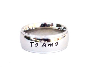 Te Amo-  Ring Hand Stamped jewelry te amo ring jewelry Spanish love ring quote ring name ring stainless steel