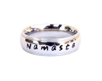 Namaste- Ring Hand Stamped Meditation Yoga Ring Inspirational ring breathe quote stainless steel ring Inspirational