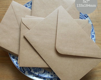 """200 A7 Envelopes 5x7 Envelopes Ribbed Kraft Recycled Bulk Rustic for wedding invitations card making supplies True size 5.1/4x7.1/4"""""""