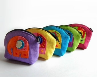 COIN PURSE, 5 little elephant coin purses mixed color - Gift