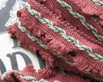 Stunning  Antique's french  passementerie fringe trim edging border_ amaranth color