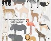 African Animal Clipart Bundle Safari Animal Graphics African Wildlife Illustration Jungle Animals Zoo Animals Clip Art Wild Animal Scrapbook