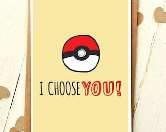 I Choose You - Pokemon - Funny Love Cards - Anniversary Card - Pokemon Cards - Boyfriend Card - Girlfriend Card - Card For Boyfriend