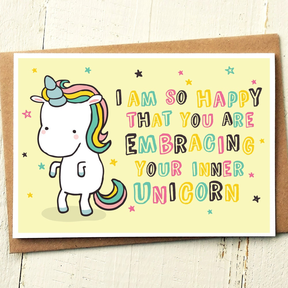 Coming Out Card Unicorn Card Unicorn Birthday Card Gay