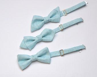Linen Bow Tie - Groom's Bow Tie - Men's Bow Tie - Ice Blue Bow Tie - Pearl Shine Bow Tie - Groomsmen's Bow Ties - Wedding Bow Ties
