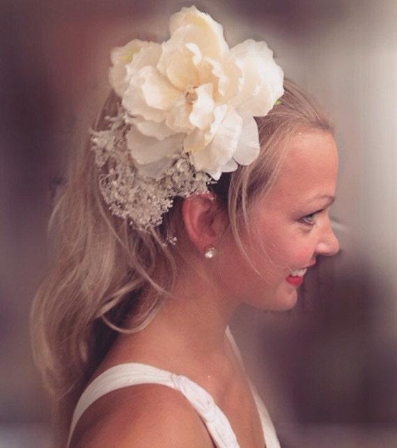 Baby S Breath In Hair: Flower Hair Clip. Babys Breath Wedding Hair Comb White Wedding