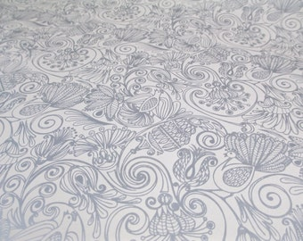4 Yards White Silver Hollywood Regency Wrapping Paper Retro 70's Gift Wrap Mod Luxe Birds Flowers Wedding Christmas Bohemian Hippie