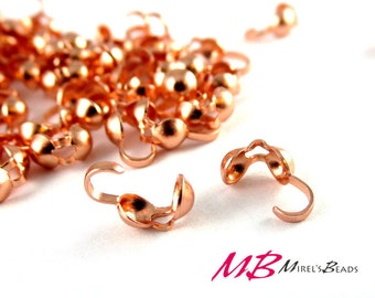 144 Quality Bead Tips 3.5mm, Copper Plated Clam Shell, Crimp Ends