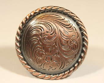 Fancy Western Style Knob - Antique Copper